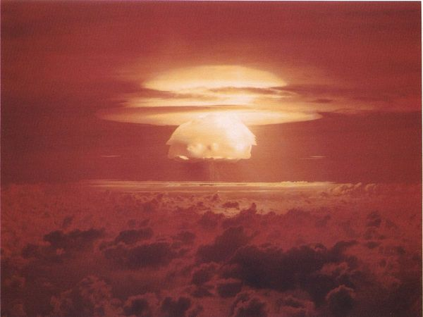 The explosion from Castle Bravo over Bikini Atoll in 1954