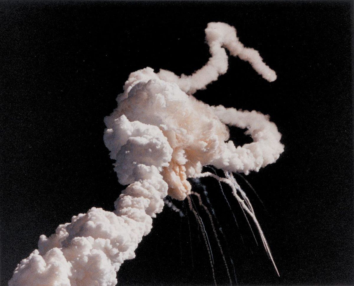 The Space Shuttle Challenger moments after it exploded above Cape Canveral on January 28, 1986