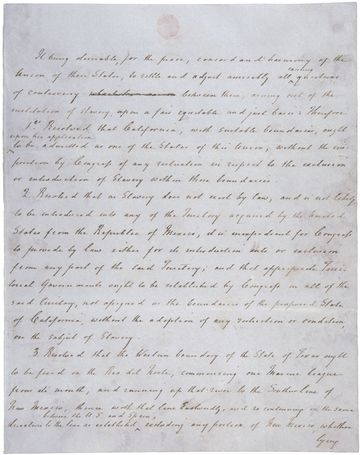 Henry Clay's handwritten draft of one of the bills that formed the Compromise of 1850