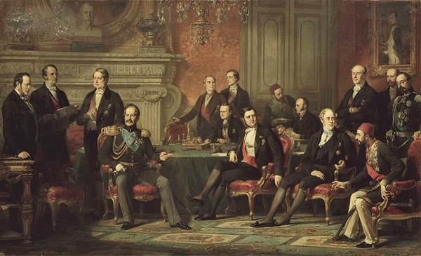 The Congress of Paris between the Russian Empire, France, United Kingdom, Ottoman Empire and Kingdom of Sardinia
