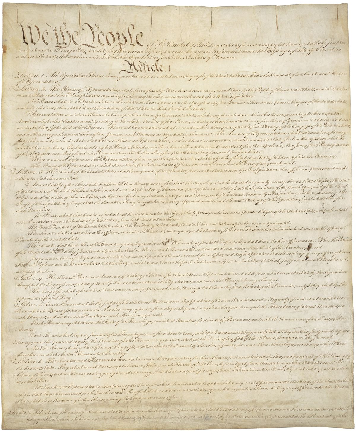 Page one of the original copy of the Constitution of the United States