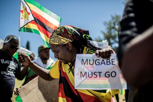Protestors in Harare, Zimbabwe, demonstrate against longtime dictator Robert Mugabe