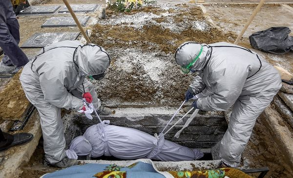 Burial of a coronavirus victim in Iran during the coronavirus COVID-19 pandemic