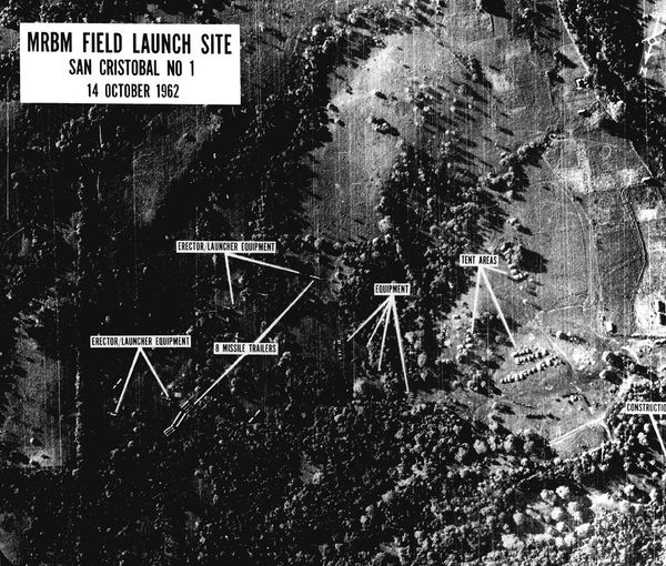 Reconnaissance photo of Soviet missiles in Cuba shown to John F. Kennedy on October 16, 1962