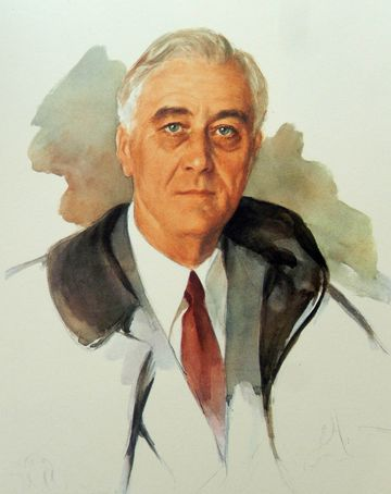 The famous unfinished portrait of US President Franklin D. Roosevelt, started by Elizabeth Shoumatoff on the day of his death