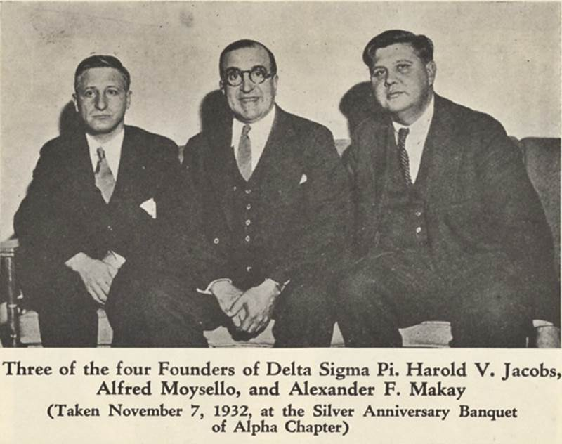 Three of the four founders of Delta Sigma Pi at New York University