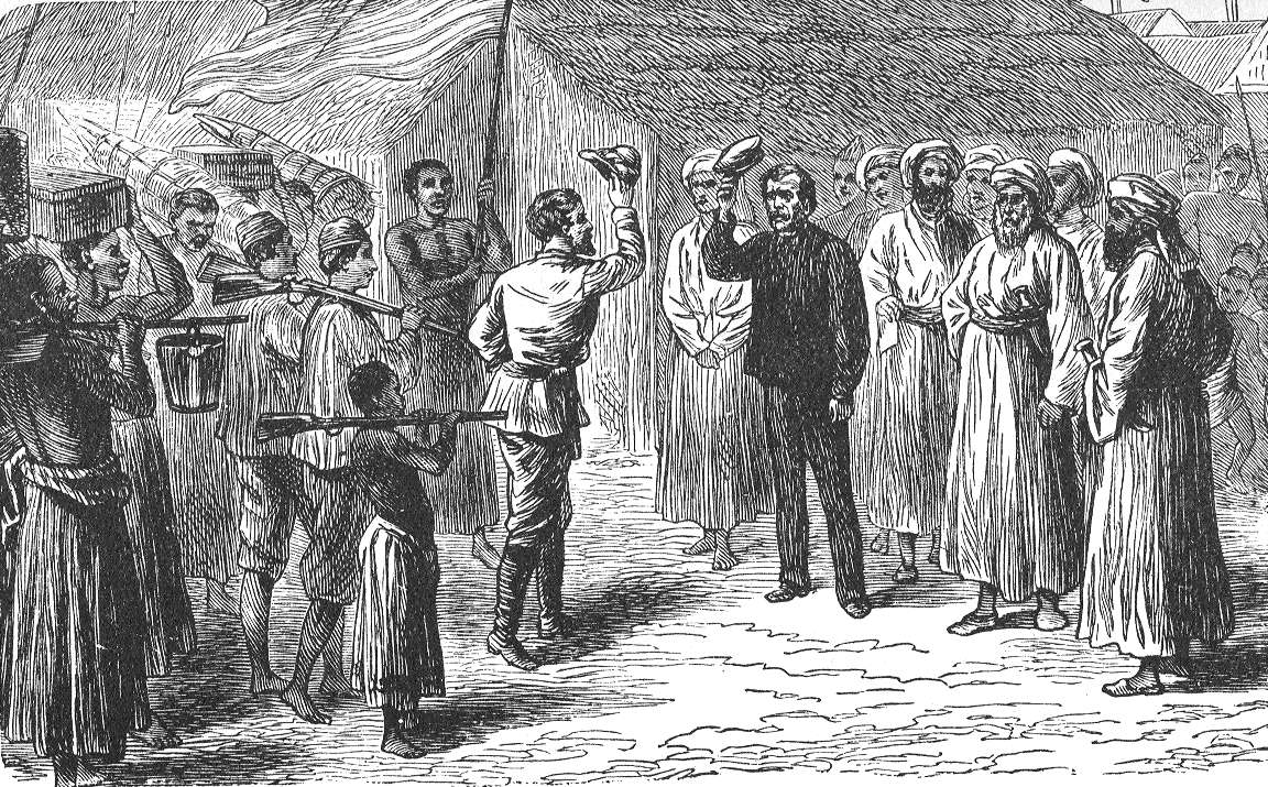 "An illustration from Henry Morton Stanley's 1872 book ""How I Found Livingstone"""