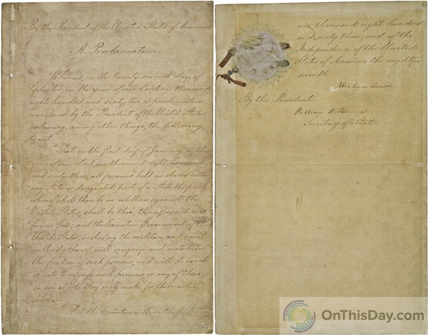 The first and last page of the Emancipation Proclamation signed by President Abraham Lincoln