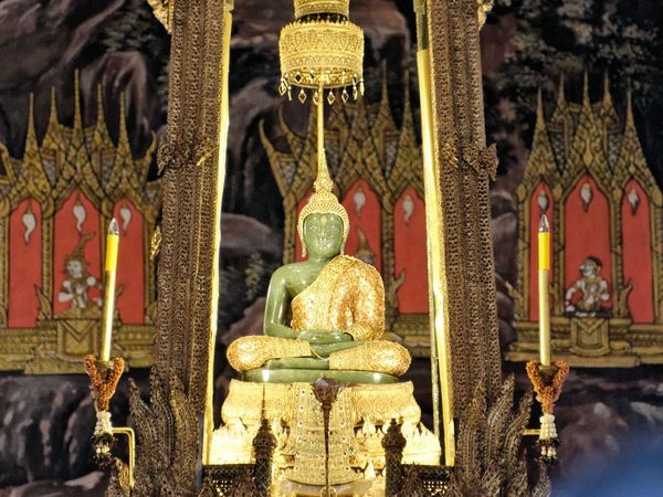 The Emerald Buddha of Thailand, considered the palladium of the nation and one of its most sacred sites