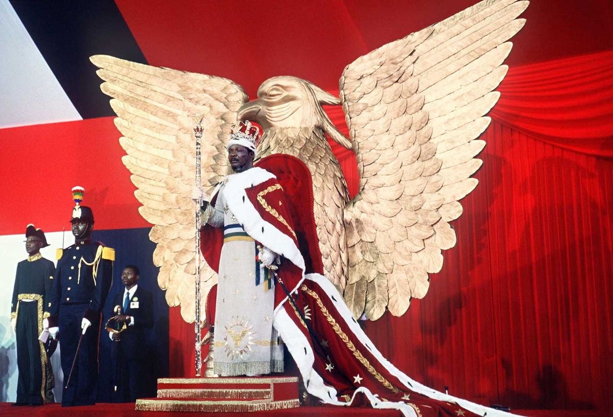 Jean-Bédel Bokassa is crowned as 'Emperor of Central Africa' atop a golden throne in 1976