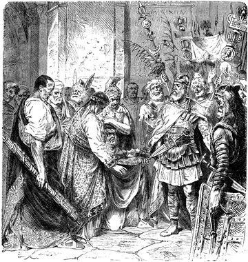 The last Western Roman Emperor, Romulus Augustulus, abdicates the crown in favor of the barbarian king Odoacer