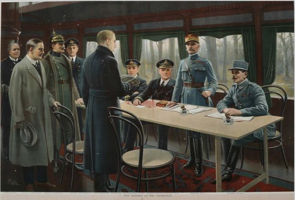 This painting depicts the signing of the armistice which ended World War I in Compiegne, France