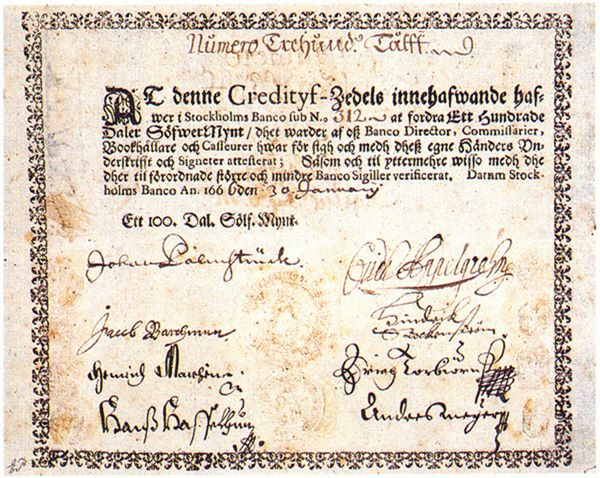 The first European banknote, issued by Stockholms Banco of Sweden