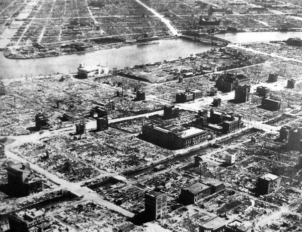 The aftermath of the single deadliest air raid of World War II, the firebombing of Tokyo
