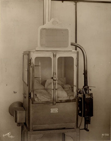 The first baby incubator in the U.S. in State Emigrant Hospital in New York