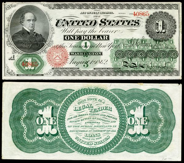 Image of the first US one-dollar note (United States Note) issued in 1862