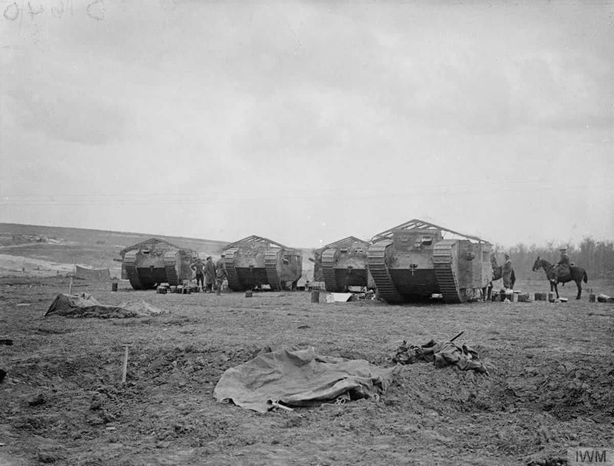 Battle of Flers–Courcelette.: Mark I tanks fill with petrol on the day tanks were first used in war, September 15, 1916
