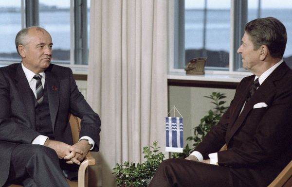 US President Ronald Reagan and Soviet leader Mikhail Gorbachev meet at the Reykjavik Summit in Iceland