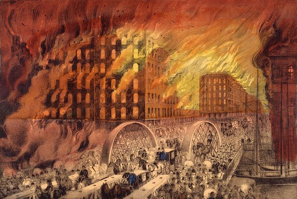 A depiction of the Great Chicago Fire which lasted from October 8 to October 10, 1871