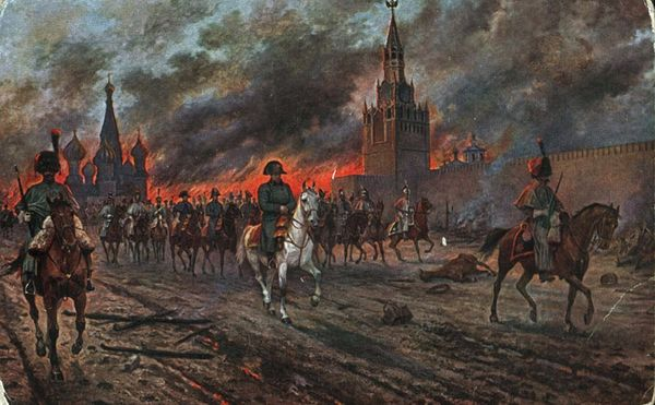 Napoleon retreats from Moscow as it burns, in a painting by Viktor Mazurovsky