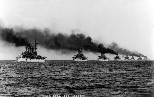 American naval ships leave Virginia on December 16, 1907, the first day of their two-year voyage