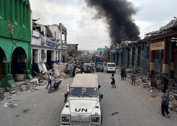 UN forces patrol the Haitian capital of Port-au-Prince after a calamitous earthquake on January 12, 2010 killed as many as 200,000 people