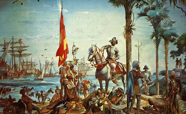 Spanish explorer and conquistador Hernando de Soto landed on the coast of Florida, at a point somewhere between present-day Tampa Bay and Charlotte Harbor