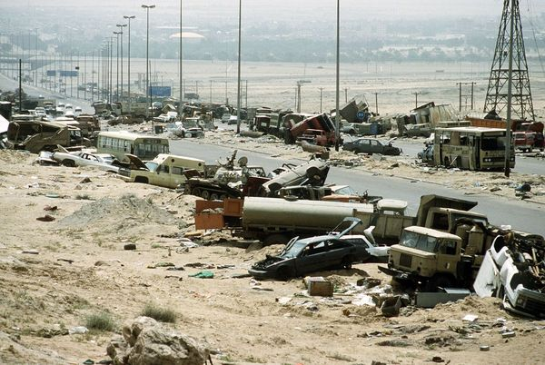 The so-called Highway of Death in Iraq after coalition planes repeatedly bombed it during Operation Desert Storm