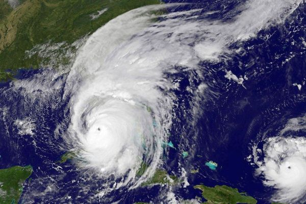 Satellite photo of Hurricane Irma shortly before landfall in Florida, with Hurricane Jose to the right