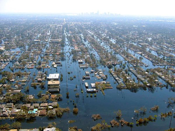 A section of New Orleans, Louisiana is flooded after Hurricane Katrina in 2005