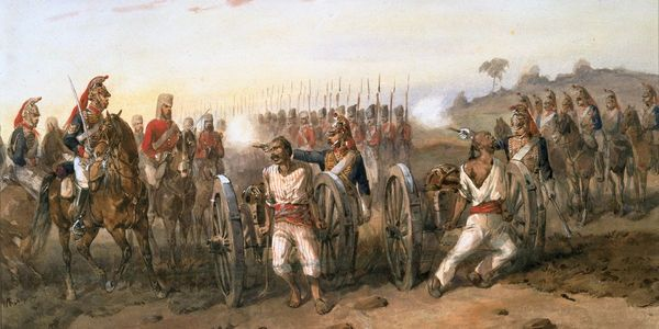 Mutineers are executed by the Bengal Horse Artillery, in a painting by Orlando Noire