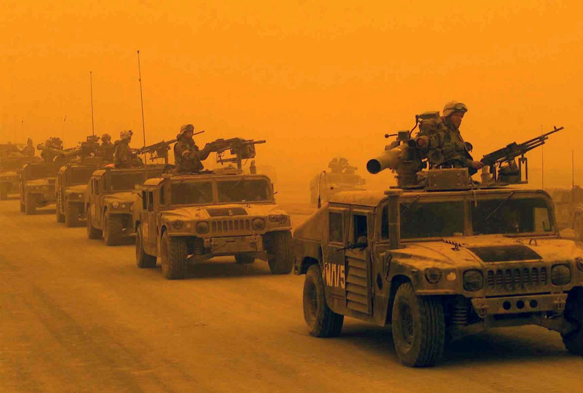 US troops in a sandstorm during the invasion of Iraq in 2003