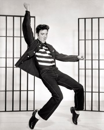A publicity shot from the film showing Elvis Presley during the dance sequence in Jailhouse Rock