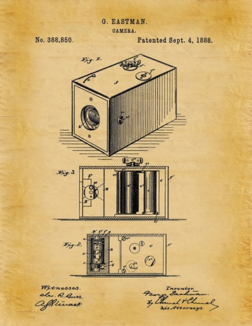 Eastman's roll-film camera patent, U.S. Patent No. 388,850