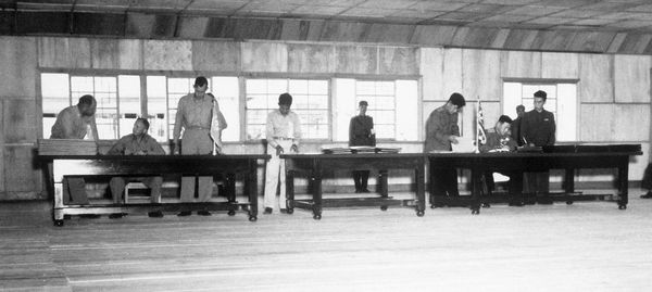 Signing of the armistice which ended the active fighting phase of the Korean War