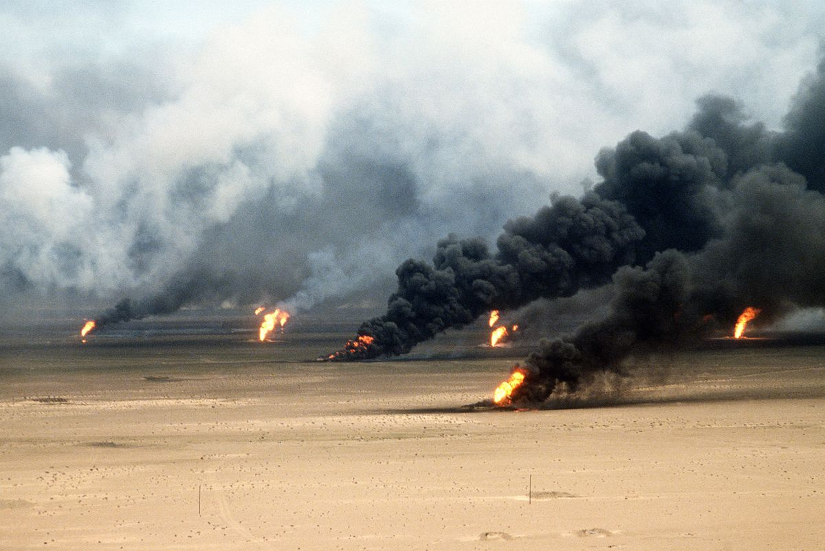 Set alight by retreating Iraqi troops, Kuwaiti oil fires burnt long after the Gulf War finished