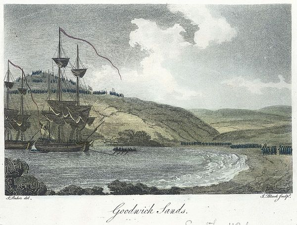 French troops surrendering to British forces at Goodwick Sands near Fishguard in Wales. Drawing by James Baker.