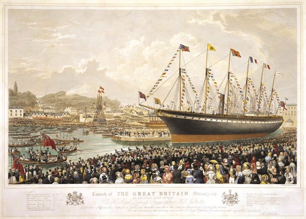 A painting of the launch of SS Great Britain, by Joseph Walter