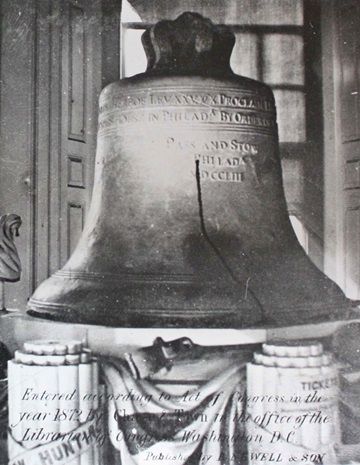 The Liberty Bell on its ornate stand, 1872