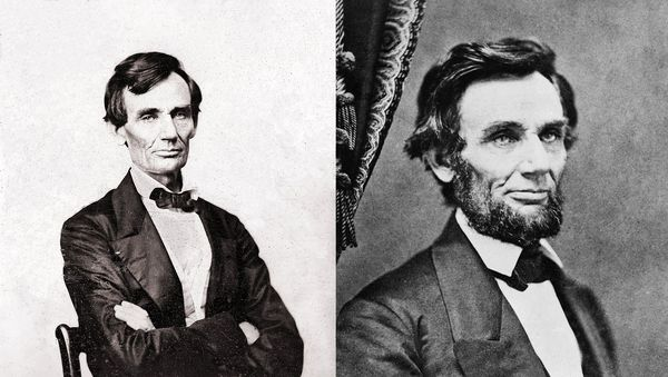 Abraham Lincoln left, before he received the letter from Grace Bedell, and right, shortly before he met her in 1861