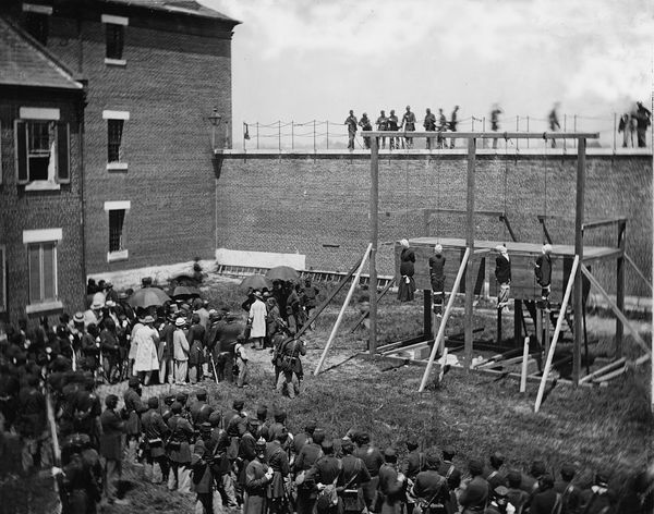Mary Surratt, Lewis Powell, David Herold, and George Atzerodt are hung for their part in the assassination of Abraham Lincoln