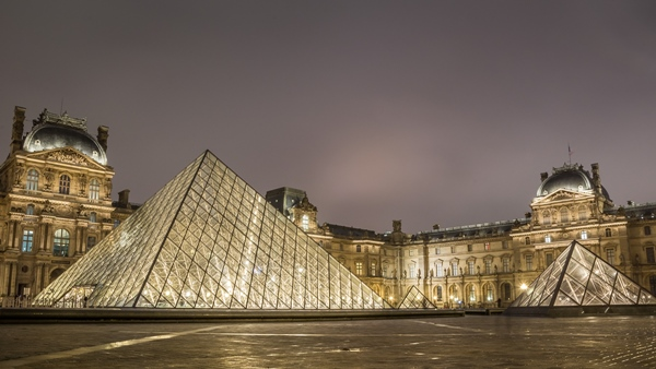 I. M. Pei's masterpiece at night in the main courtyard (Cour Napoléon) of the Louvre Palace (Palais du Louvre)