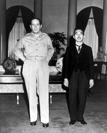 General Douglas MacArthur meets Japanese Emperor Hirohito on September 27, 1945