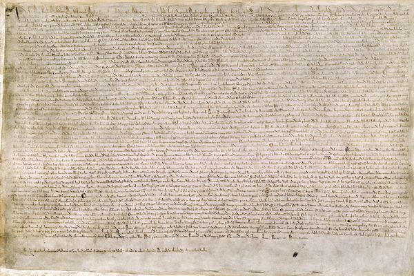 The Magna Carta, written in iron gall ink on parchment in medieval Latin