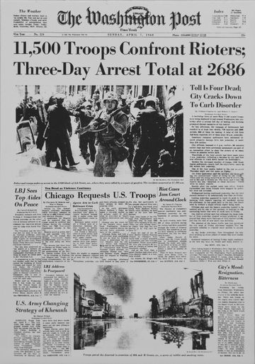 Front page of The Washington Post on April 7, 1968, three days after the assassination of Martin Luther King