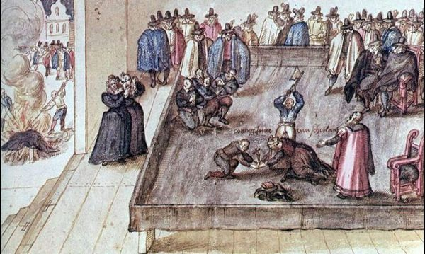 Depiction of the execution on Mary, Queen of Scots at Fotheringhay Castle in Northamptonshire