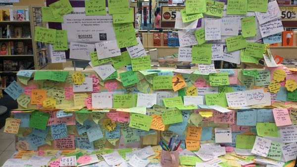 Post-it notes written by well-wishers in Malaysia after Malaysia Airlines Flight MH370 went missing