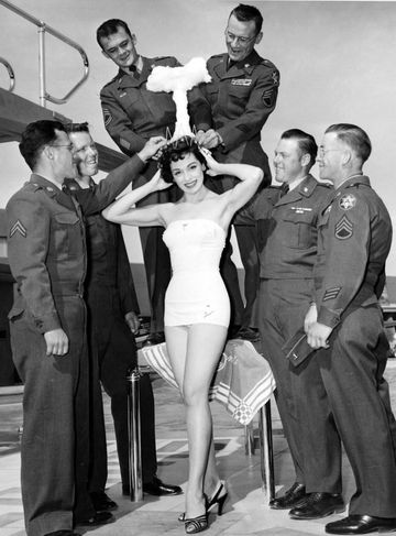 Linda Lawson is the winner of the 1955 Miss Atomic Pageant, with a mushroom cloud crown for good measure
