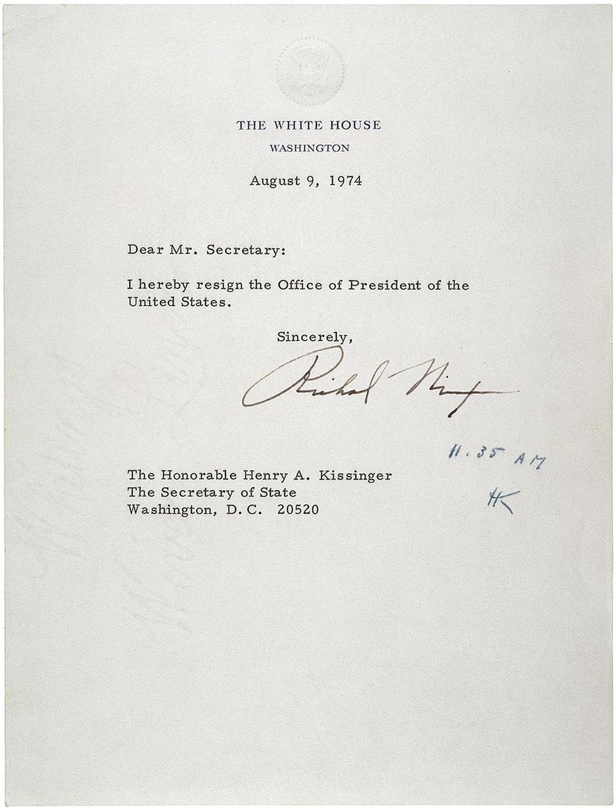 Richard Nixon\'s Resignation Letter - On This Day