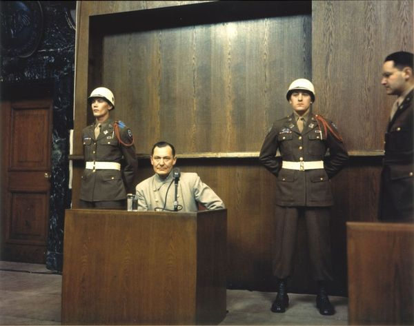 Hermann Goering on trial at the Nuremberg Trials. He would later be sentenced to death, but committed suicide the night before his sentence was to be carried out.